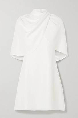Brandon Maxwell Draped Cape-effect Silk-crepe Mini Dress - Ivory