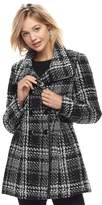 Iz Byer Juniors' Plaid Double-Breasted Coat