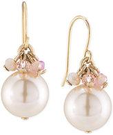 Carolee Gold-Tone Pink Imitation Pearl Drop Earrings