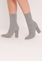 Missguided Pointed Toe Neoprene Heeled Ankle Boots Grey