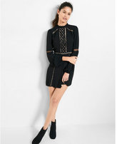 Express pieced lace mock neck fit and flare dress