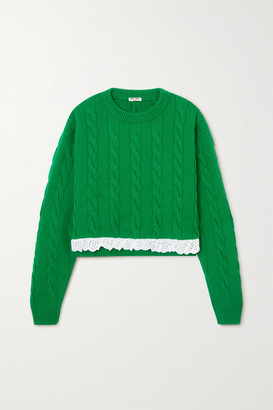 Miu Miu Cropped Broderie Anglaise-trimmed Cable-knit Cashmere Sweater - Green