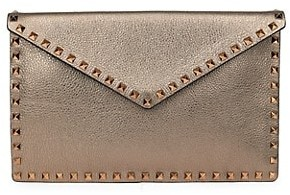 Valentino Large Rockstud Metallic Leather Clutch