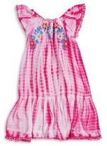 Flapdoodles Girls Embroidered Tie-Dye Dress