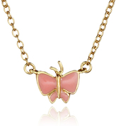Gold & Pink Butterfly Necklace