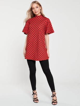Very Short Sleeve Tunic - Spot Print
