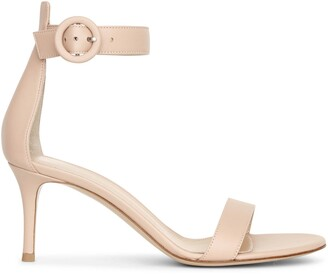 Gianvito Rossi Portofino 70 peach leather sandals