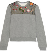 RED Valentino Embroidered Point D'esprit-paneled Jersey Sweatshirt - Gray