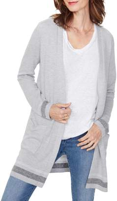 NYDJ Contrasting Open-Front Cardigan