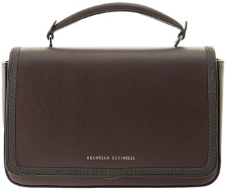 Brunello Cucinelli Polished Calfskin Bag With Precious Contour Mud