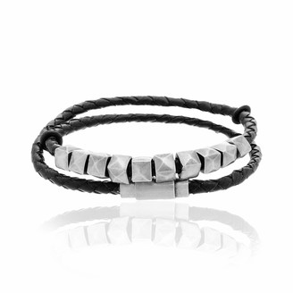 Steve Madden Men's Black Faux Leather Wrap Bracelet With Square Beads in Stainless Steel