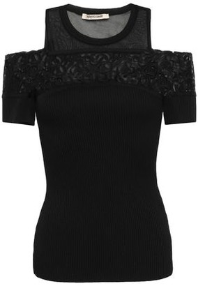 Roberto Cavalli Cold-shoulder Lace-paneled Ribbed-knit Top