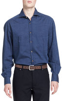 Brunello Cucinelli Washed Denim Dot-Print Shirt, Blue