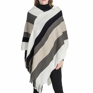 LEXUPE Women Autumn Winter Warm Comfortable Coat Casual Fashion Jacket Blanket Stripe Splicing Pattern Coat Wrap Cozy Shawl White