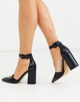 London Rebel pointed block heeled shoes in black snake