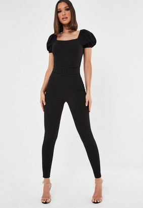 Missguided Belted Puff Sleeve Playsuit