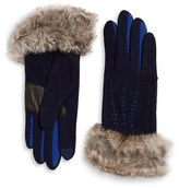 Echo Touch Colorblock Fur Trim Gloves