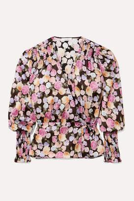 Art Dealer - Smocked Floral-print Satin Wrap Top - Black