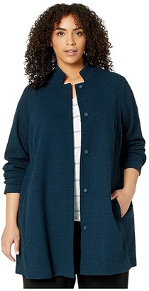 Eileen Fisher Plus Size Organic Cotton Tencel Pucker Stand Collar Long Jacket (Storm) Women's Clothing