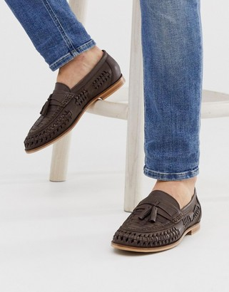 Office Lewisham woven tassel loafers in brown leather
