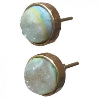 Anthropologie Turquoise Metal Earrings