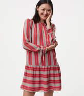 LOFT Tall Spiced Stripe Flounce Shirtdress