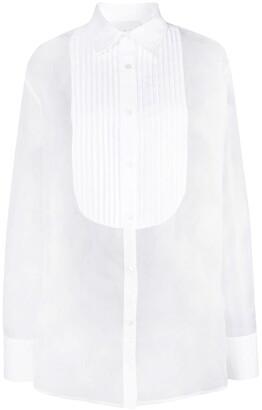 Fleur Du Mal pleated bib organza shirt