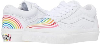 Vans Kids Old Skool (Little Kid) ((Flour Shop) Rainbow/True White) Kids Shoes