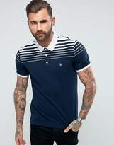 Original Penguin Pique Polo Gradient Stripe Slim Fit Small Logo In Navy