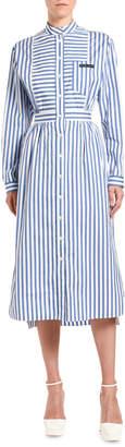 Prada Patchwork-Striped Poplin Shirtdress