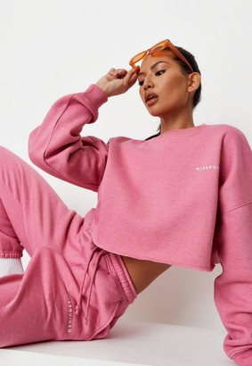 Missguided Pink Cropped Sweatshirt