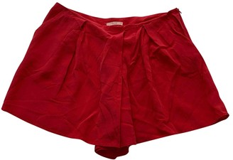By Zoé Red Silk Shorts for Women