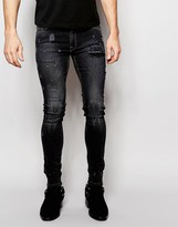 Asos Extreme Super Skinny Jeans With Abrasions