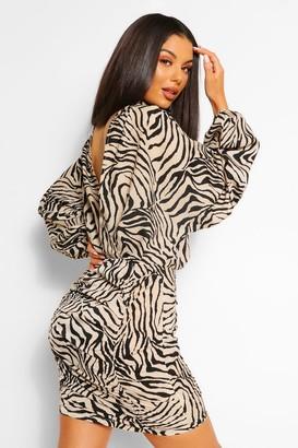 boohoo Tiger Print Ruched Open Back Mini Dress