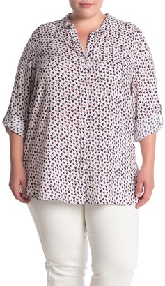 Velvet Heart Elisa Printed Button Tab Sleeve Shirt (Plus Size)