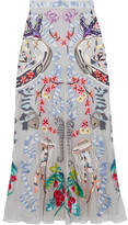 Temperley London Sail Embellished Embroidered Tulle And Crepe De Chine Skirt - Gray