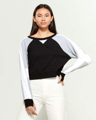 Blanc Noir Flashback Color Block Long Sleeve Sweatshirt