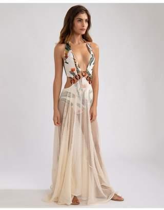 PatBO Tropical Print Mesh Beach Dress