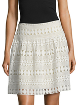 BCBGMAXAZRIA Lace Cotton Flare Skirt