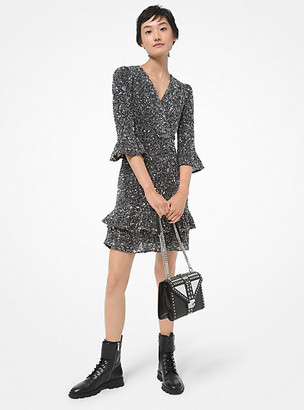 MICHAEL Michael Kors MK Sequined Stretch Mesh Ruffled Mini Dress - Silver - Michael Kors