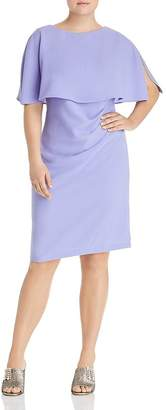 Adrianna Papell Plus Flutter Cape Sheath Dress