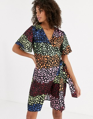 NEVER FULLY DRESSED wrap mini dress in contrast leopard print