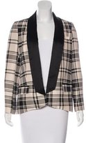 Haute Hippie Silk Plaid Print Blazer