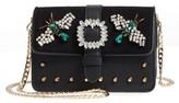 Topshop Rosie Jewel Embellished Faux Leather Crossbody Bag - Black