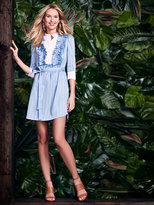 New York & Co. Ruffled Shirtdress - Blue & White Stripe