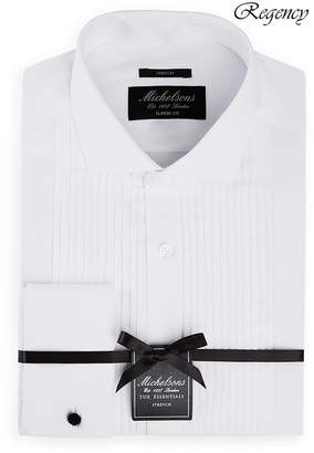 Michelsons of London Men Classic/Regular Fit Stretch Solid French Cuff Tuxedo Shirt