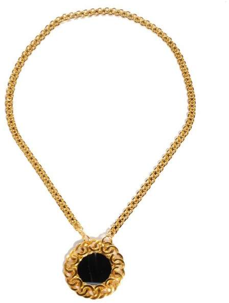 Chanel Gold Tone Hardware CC Trim Mirror Pendant With Bismarck Chain Necklace