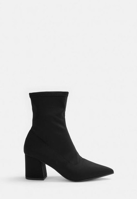 Missguided Black Pointed Toe Sock Boots