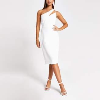 River Island Womens White one diamante shoulder bodycon dress