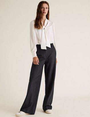 Marks and Spencer Pinstripe High Waist Wide Leg Trousers